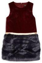Imoga Toddler's, Little Girl's & Girl's Pia Faux Fur Colorblock Dress
