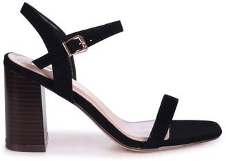 Linzi HARLEY - Black Nubuck Barely There Stacked Heeled Sandal