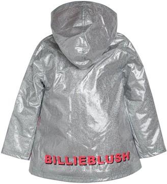 Billieblush Girls Fleece Lined Glitter Raincoat - Silver