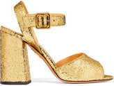 Charlotte Olympia Emma Glittered Leather Sandals - Gold