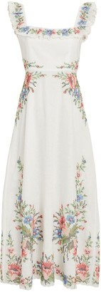 Zimmermann Juliette Ruffled Floral Midi Dress