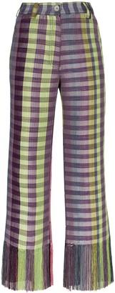 Kenneth Ize Okatu checked flared trousers