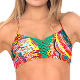 Luli Fama L446725 Crochet Cutout Cross Cross Back Sporty Bra Top in Multicolor