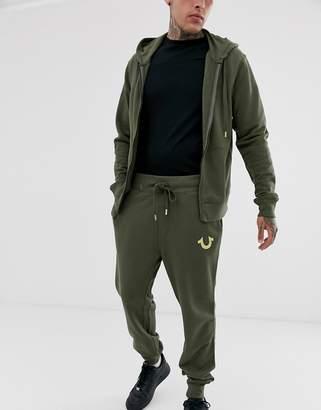 True Religion buddah metalic logo tapered cuffed jogger in khaki-Green