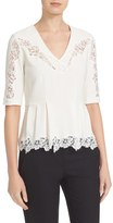 Rebecca Taylor Women's Lace Trim Crepe Blouse