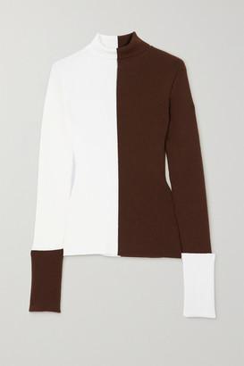Monse Two-tone Ribbed Wool-blend Turtleneck Sweater - Ivory