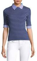 Piazza Sempione Ribbed Striped Top