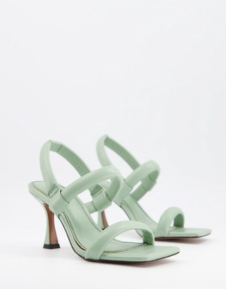ASOS DESIGN Hickory padded mid-heeled sandals in sage green