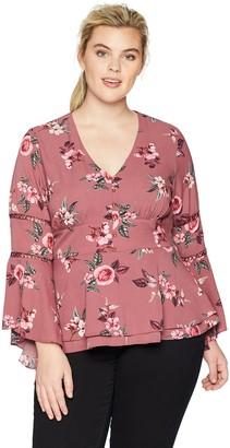 City Chic Women's Apparel Women's Plus Size TOP Secret Floral XXL
