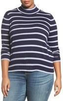 Melissa McCarthy Stripe Mock Neck Sweater (Plus Size)