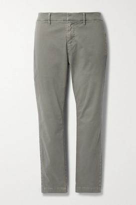 Nili Lotan Tel Aviv Cropped Stretch-cotton Twill Tapered Pants - Gray