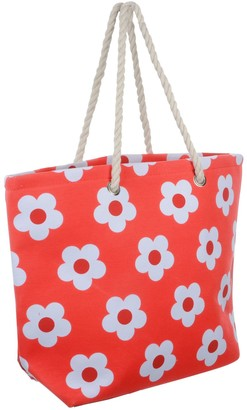 Lazy Beach Bag Ladies Red Flower Canvas Beach Shoulder Bag Tote Shopping Reuseable Handbag