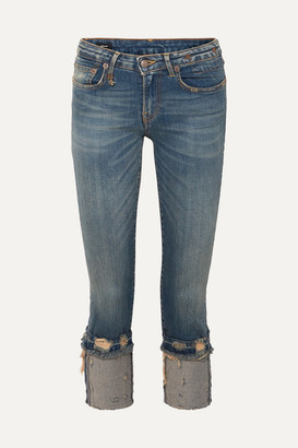 R 13 Kate Cropped Distressed Low-rise Skinny Jeans - Mid denim