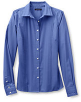 Classic Women's Petite Long Sleeve Pintuck Broadcloth Shirt-True Blue