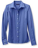 Lands' End Women's Regular Long Sleeve Pintuck Broadcloth Shirt-Classic Navy Plaid