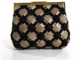 Marni Black Taupe Woven Leather Satin Gold Tone Hardware Clutch Handbag EVHB