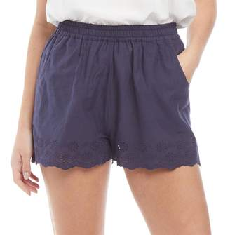 Board Angels Womens Cotton Shorts With Broderie Anglaise Hem Trim Navy