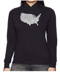LA Pop Art Women's Word Art Hooded Sweatshirt -The Star Spangled Banner