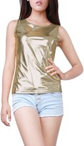 Allegra K Women's U Neck Stretch Slim Fit Metallic Tank Top M