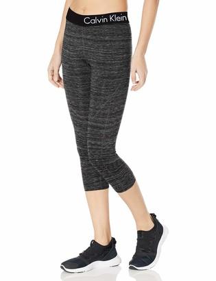 Calvin Klein Women's Plus Size Logo Elastic Seamed Crop Legging