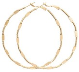 Retro Chic Gold Textured And Flat Hoop Earrings