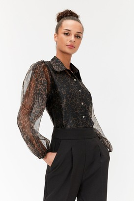 Coast Leopard Print Organza Balloon Sleeve Shirt