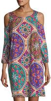 Joan Vass Mandala-Print Cold-Shoulder Dress