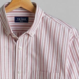 Tie Bar Oxford Vertical Stripe Washed Burgundy Casual Shirt