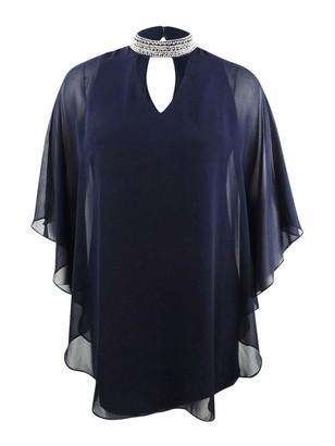 Xscape Evenings Women's Short Dress with Chiffon Overlay and Bead Choker Neck