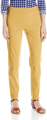 Slim Sation SLIM-SATION Women's Wide Band Pull On Straight Leg Ankle Pant with Tummy Control