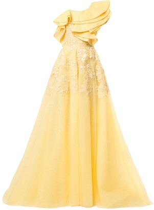 Saiid Kobeisy One-Shoulder Flared Dress