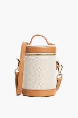 Paravel Scout Tan Leather and Canvas Crossbody Capsule Bag