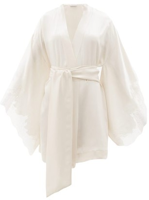 Carine Gilson Chantilly Lace-trimmed Silk-satin Robe - Cream