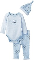 Sterling Baby One of a Kind Striped Double Knit Bodysuit, Star Pant & Hat Set (Baby Boys)