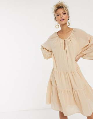 Pieces oversized smock dress in beige linen