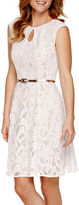 London Times Sleeveless Belted Lace Fit-and-Flare Dress