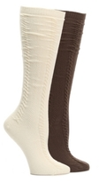 HUE Cable Knit Womens Knee Socks - 2 Pack