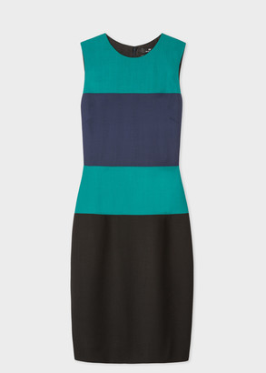 Paul Smith Women's Forest Green And Navy Sleeveless Wool Shift Dress