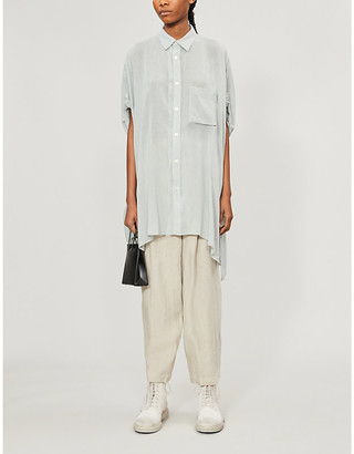 Y's Oversized asymmetric-hem rayon and linen-blend shirt