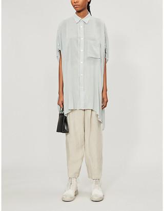 Y's Ys Oversized asymmetric-hem rayon and linen-blend shirt