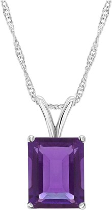 Sterling Silver 6.60 cttw Amethyst Pendant w/ Chain