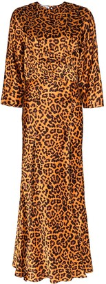 ATTICO Leopard-Print Front Slit Maxi Dress
