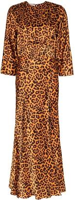 The Attico Leopard-Print Front Slit Maxi Dress