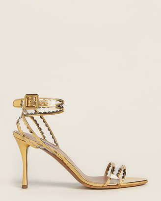 Tabitha Simmons Gold & Clear Lissa Frill Ankle Strap Sandals