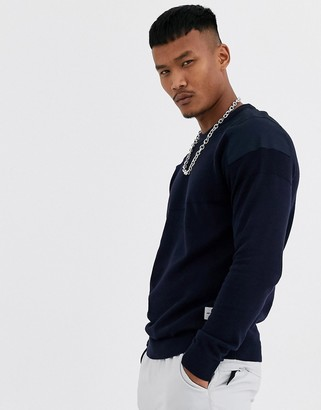 Jack and Jones Core ribbed utility patch shoulder detail knitted sweater in navy