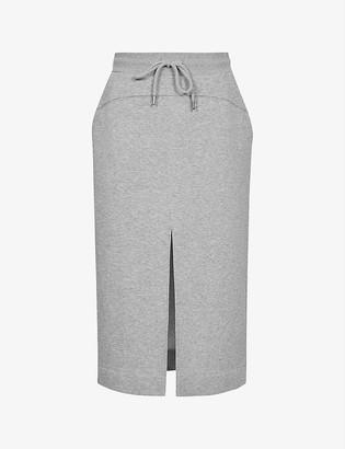 Reiss Clara cotton jersey-blend midi skirt