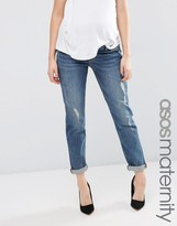 Asos Kimmi Shrunken Boyfriend Jean In Tyler Mid Wash With Rips