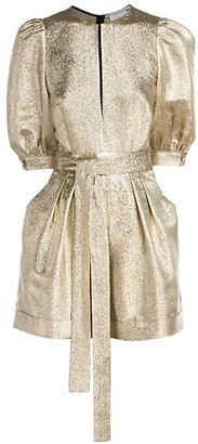 Stella McCartney Elisa Metallic Belted Romper