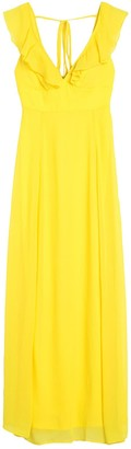 Jump Solid V-Neck Ruffled Chiffon Maxi Dress