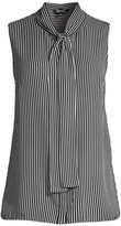 Misook Pinstripe Tie-Neck Crepe Blouse